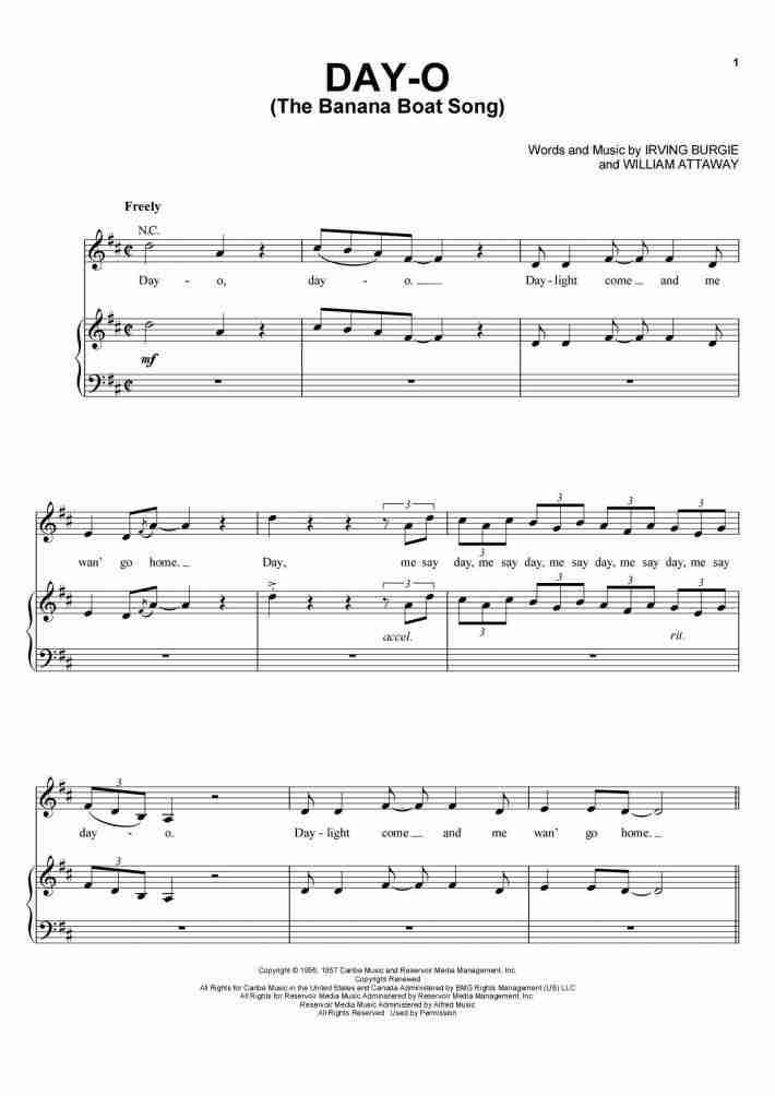Day-O (The Banana Boat Song) piano sheet music