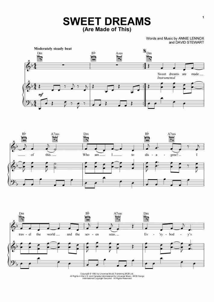 Sweet Dreams (Are Made of This) piano sheet music