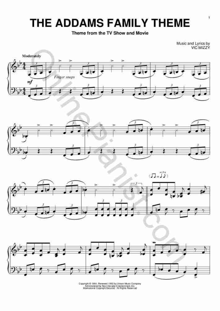 addams family theme song piano sheet music free