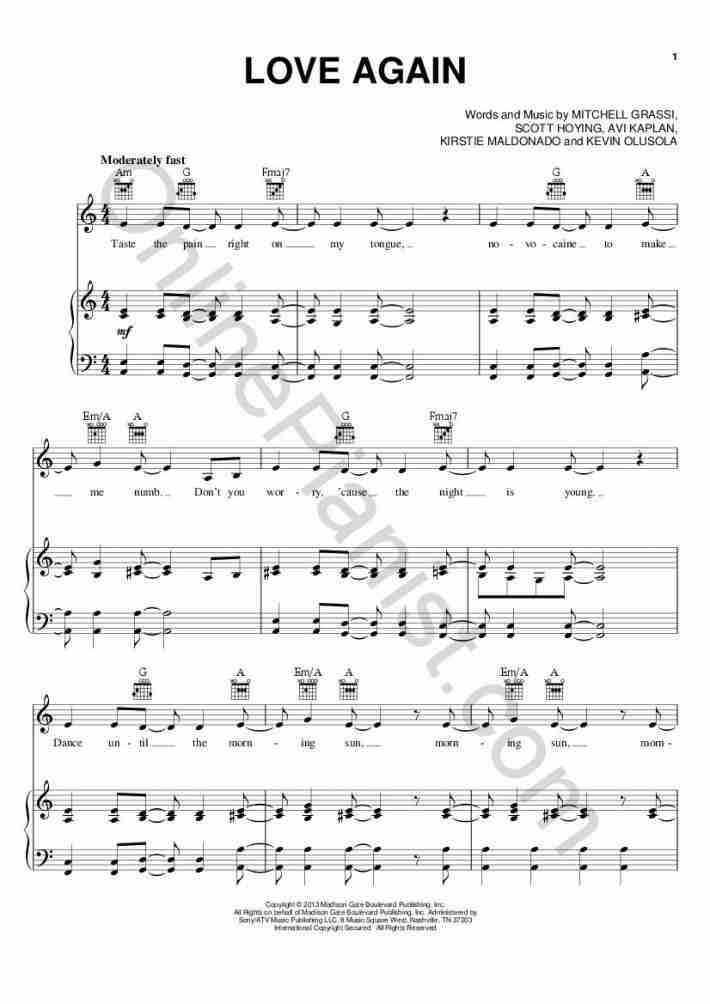 Love Again piano sheet music