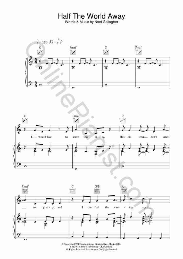 Half The World Away (John Lewis 2015 Christmas Ad) piano sheet music