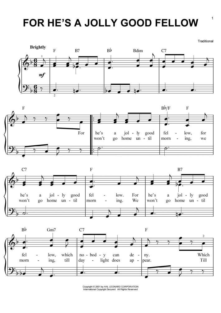 For He's a Jolly Good Fellow piano sheet music