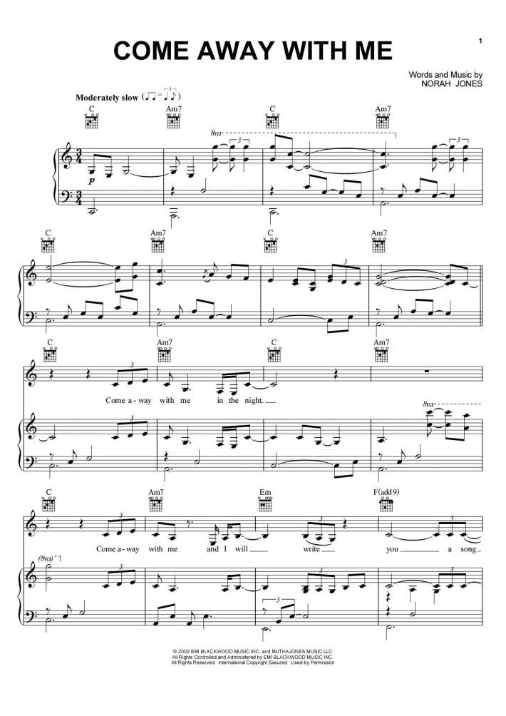 All Music Chords don t know why norah jones sheet music : Come Away With Me Piano Sheet Music | OnlinePianist