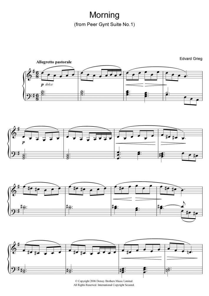 Piano piano tab sheet music : Morning Mood Piano Sheet Music | OnlinePianist