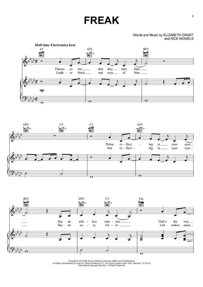 Freak Piano Sheet Music Onlinepianist