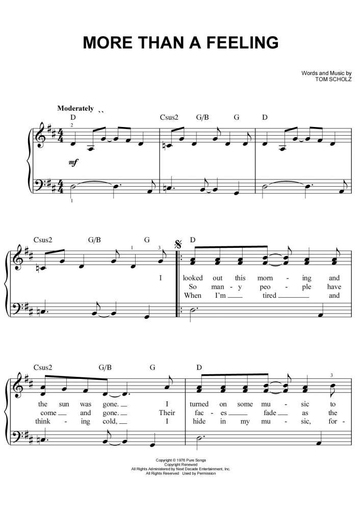 Piano piano sheet music with letters : More Than a Feeling Piano Sheet Music | OnlinePianist