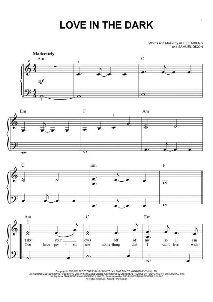 Love in the Dark piano sheet music