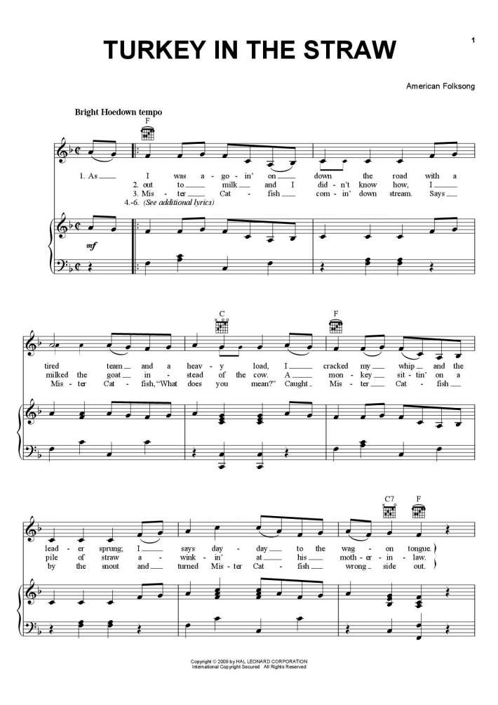 Turkey in the Straw (Ice Cream Truck Song) piano sheet music