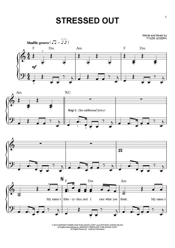 Stressed Out piano sheet music