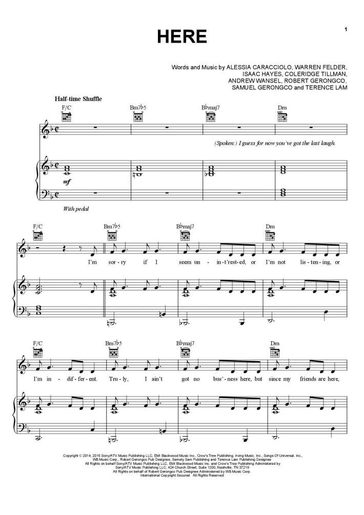 Here Piano Sheet Music | OnlinePianist