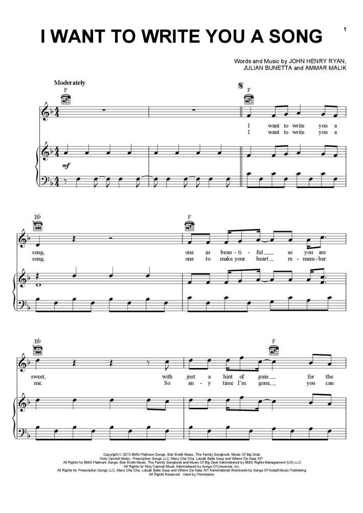 I Want To Write You A Song Piano Sheet Music