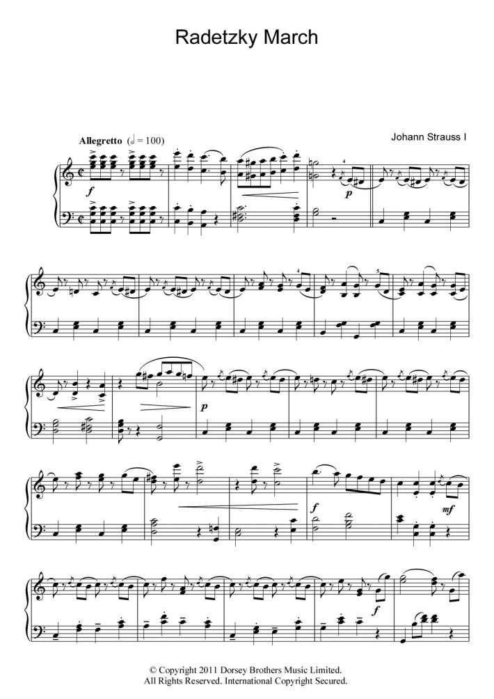 Radetzky March piano sheet music