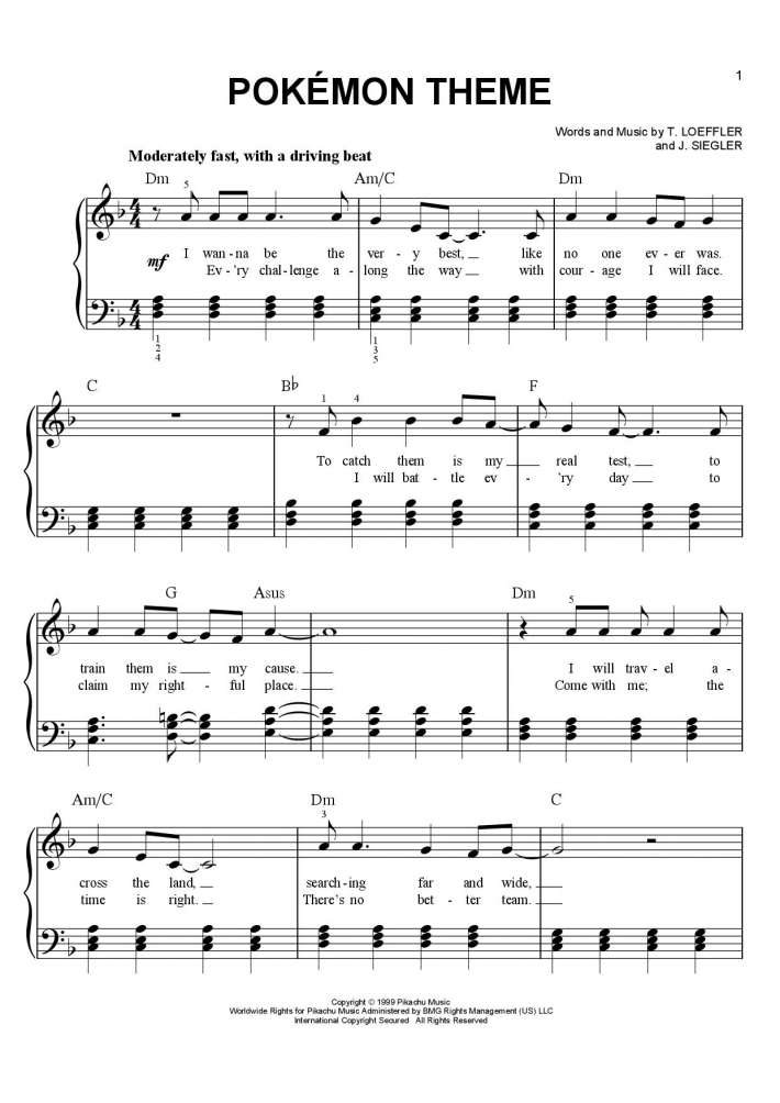Pokemon Theme piano sheet music