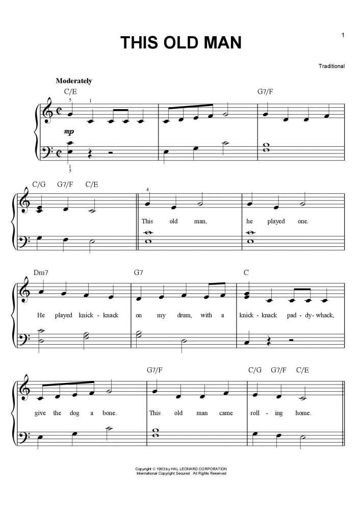 This Old Man piano sheet music
