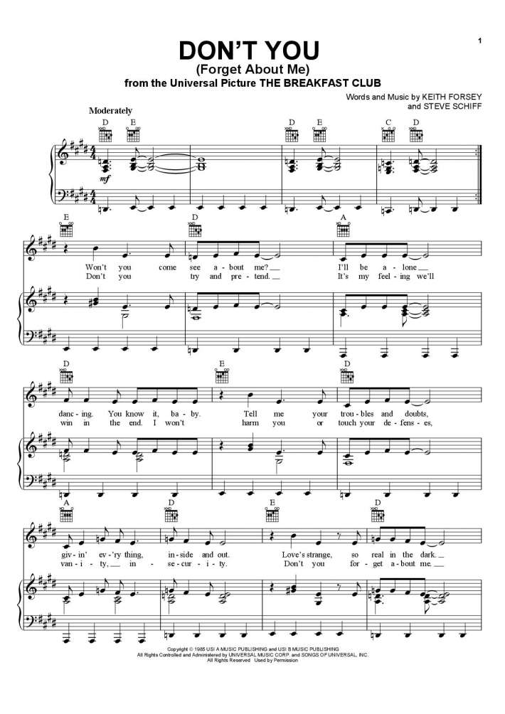Don't You (Forget About Me) piano sheet music