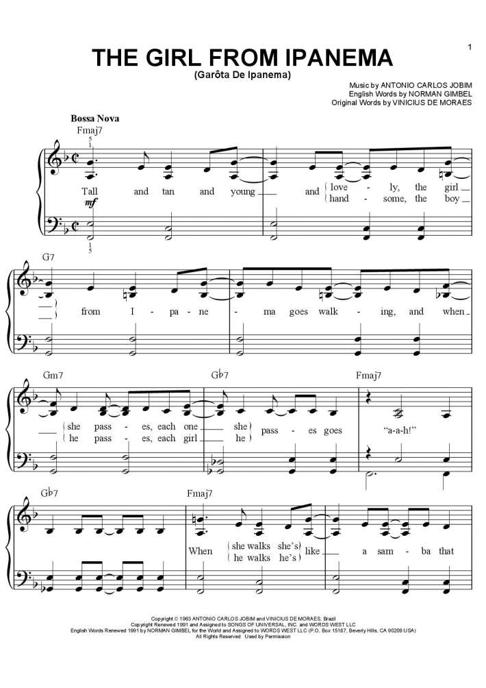 The Girl From Ipanema Piano Sheet Music Onlinepianist