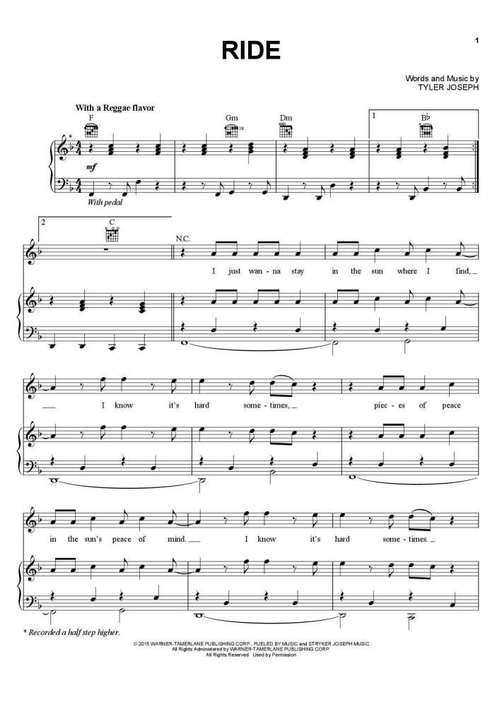Ride piano sheet music