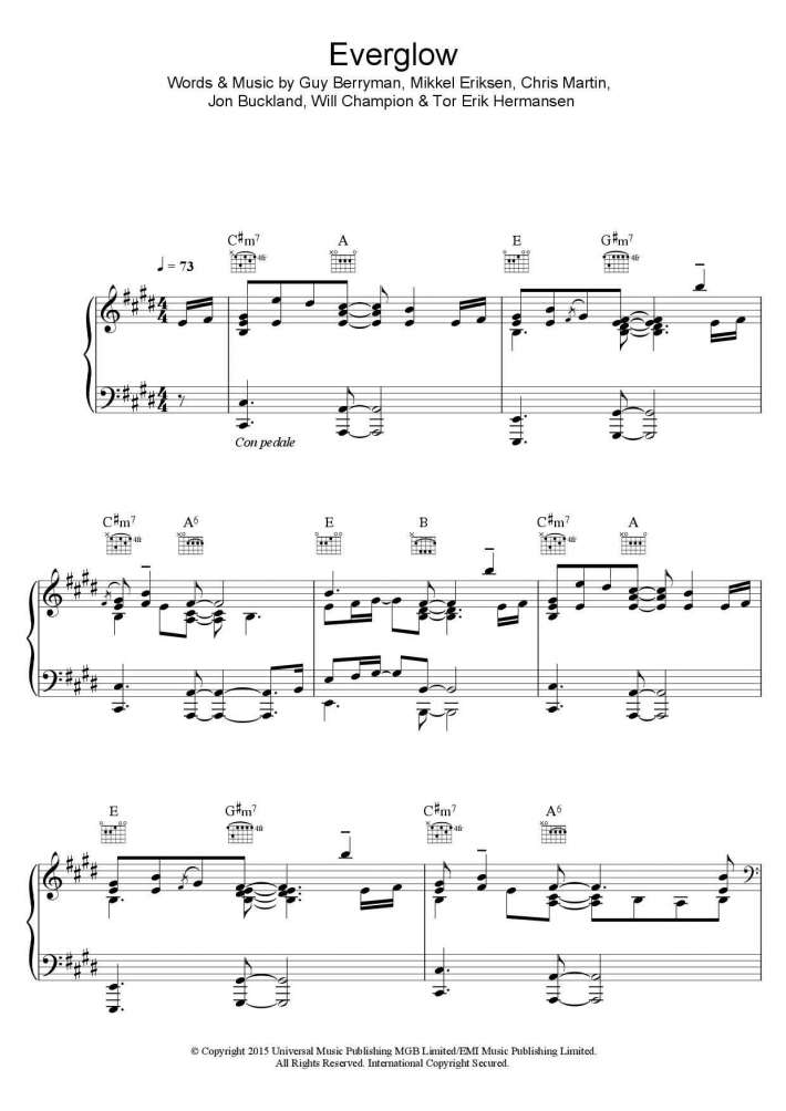 Everglow piano sheet music