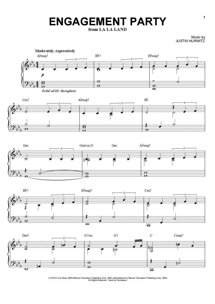 Engagement Party (La La Land) piano sheet music