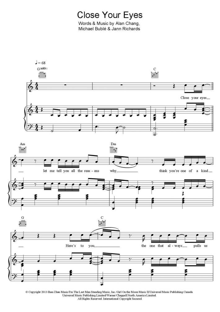 Close Your Eyes piano sheet music