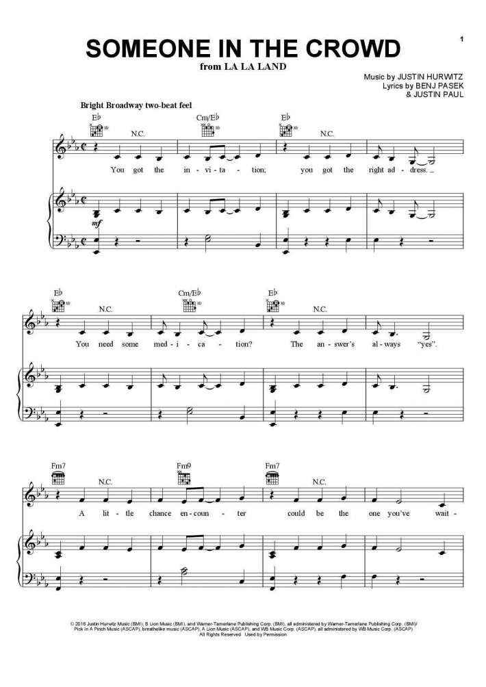 Piano somewhere piano sheet music : Someone in the Crowd Piano Sheet Music