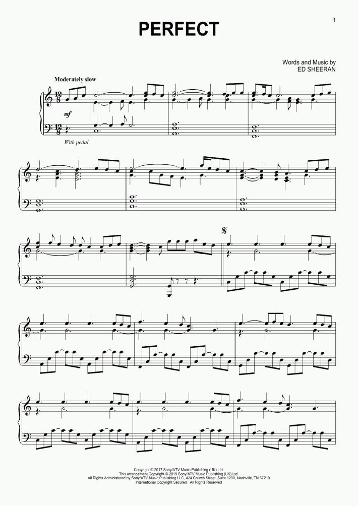 ed sheeran perfect sheet music free