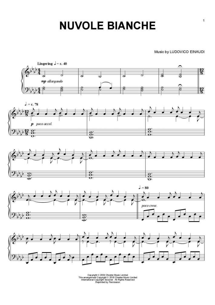 Favori Nuvole Bianche Piano Sheet Music | OnlinePianist OV64