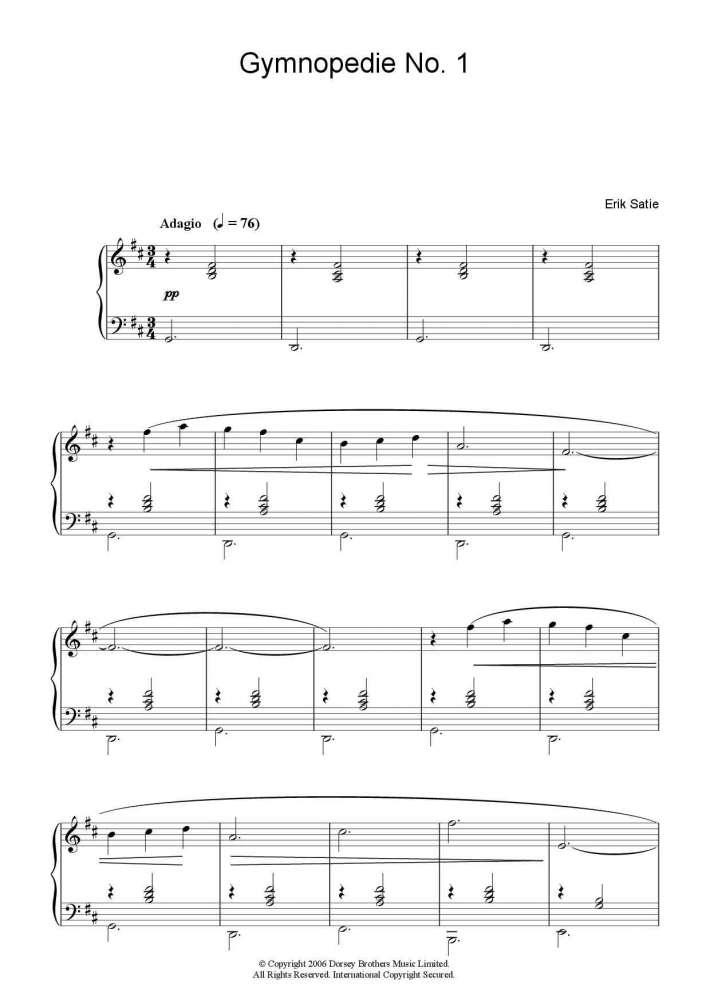 Gymnopedie No. 1 piano sheet music