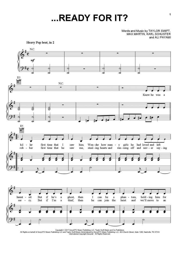 Ready For It? piano sheet music