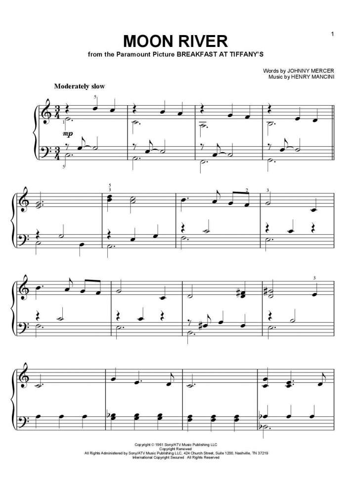 Moon River Piano Sheet Music | OnlinePianist