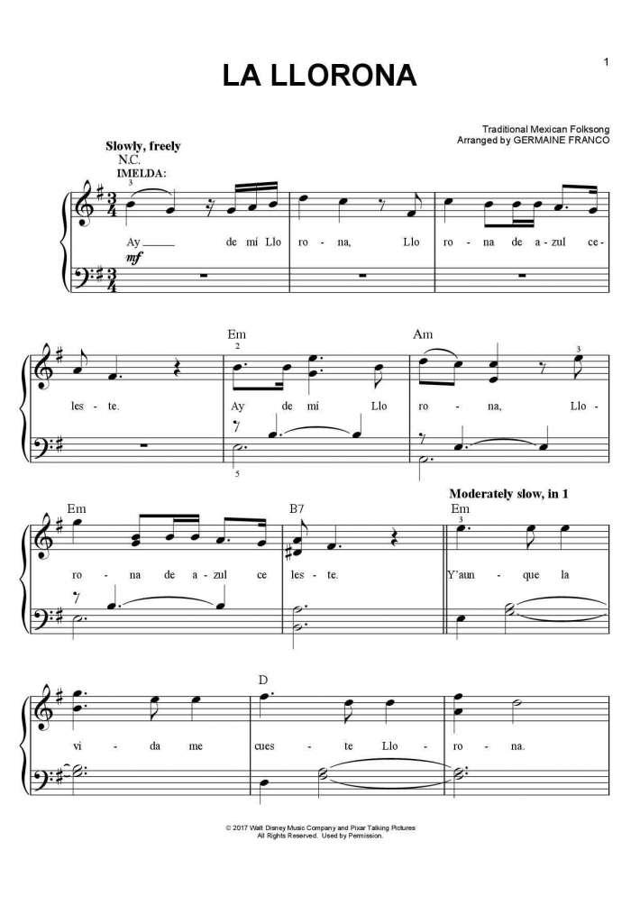 La Llorona piano sheet music