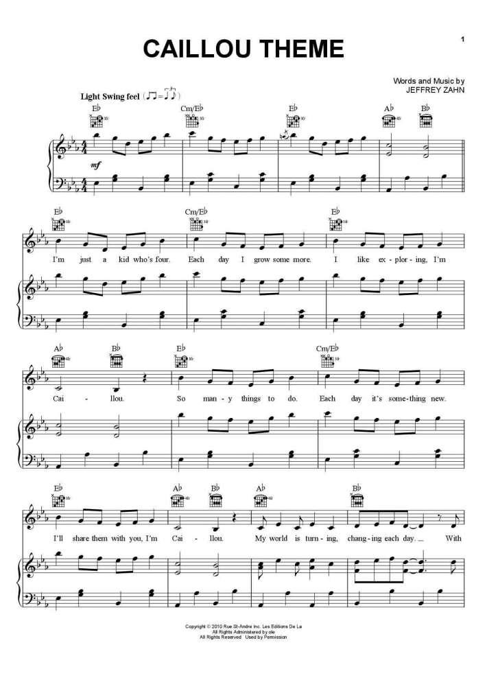 Theme Song piano sheet music