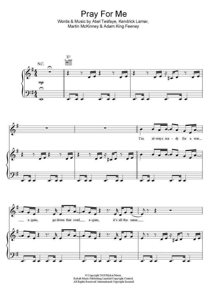 Pray for Me piano sheet music