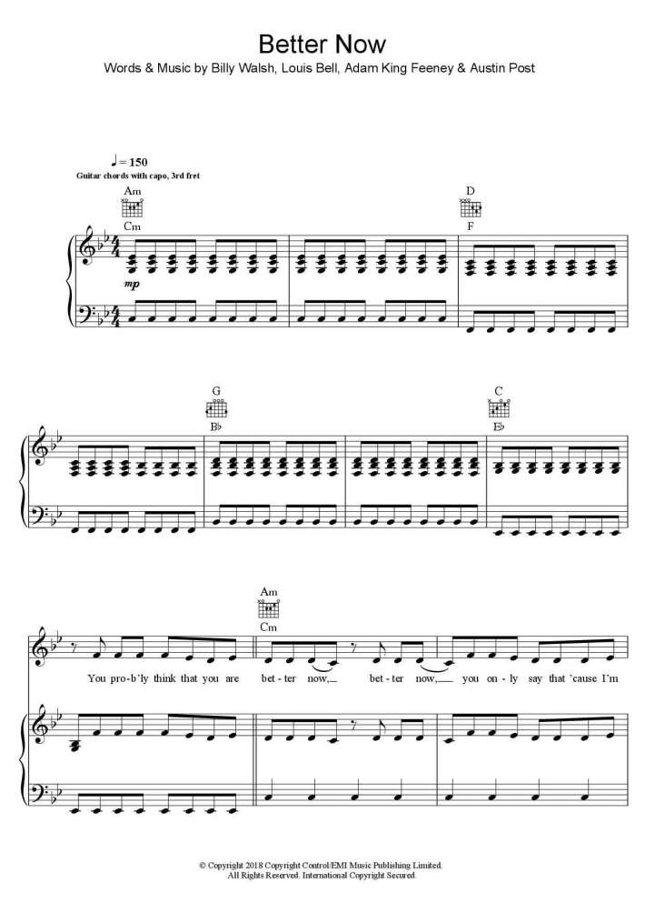 Better Now Piano Sheet Music Onlinepianist