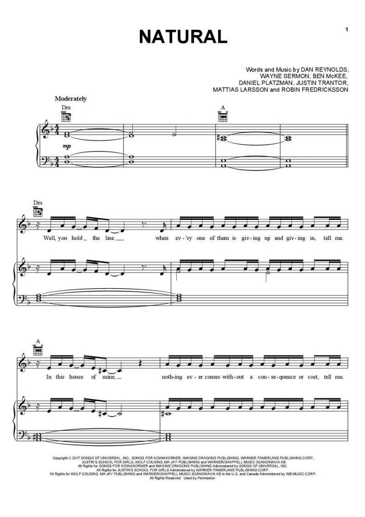 Natural piano sheet music