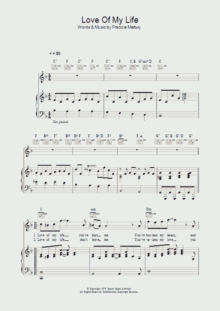 Love Of My Life Piano Sheet Music | OnlinePianist