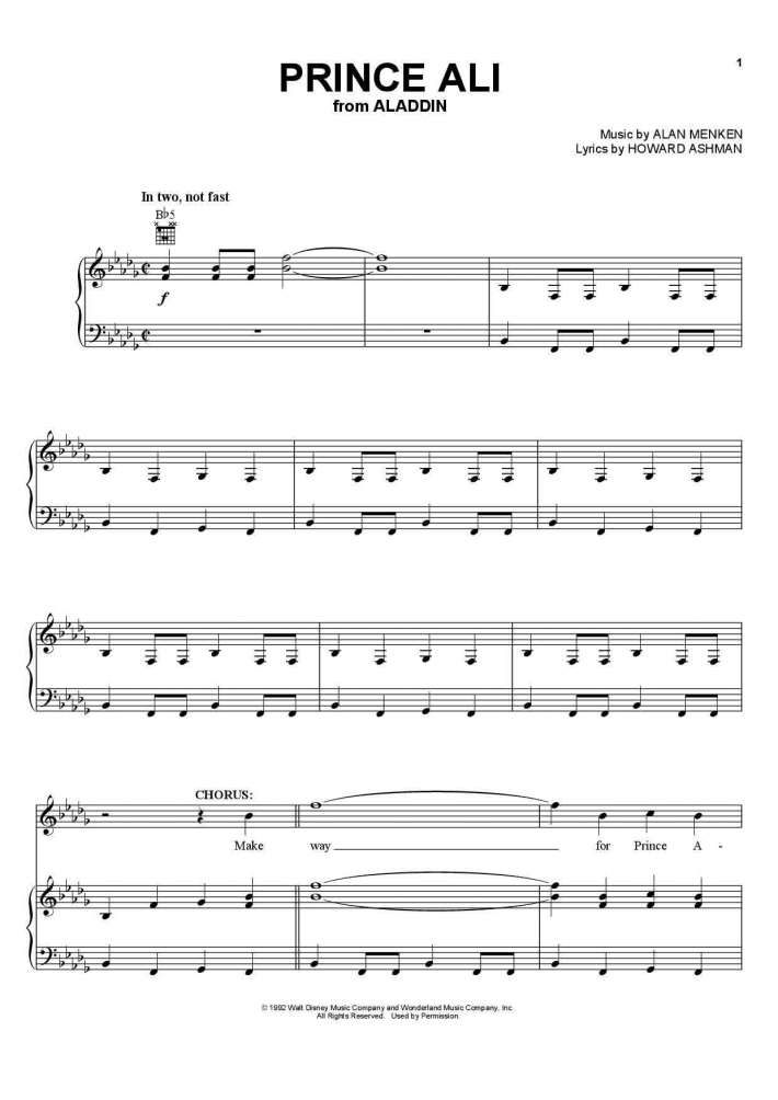 Prince Ali Piano Sheet Music   OnlinePianist