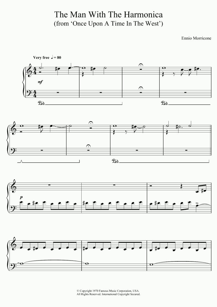 The Man With The Harmonica Piano Sheet Music
