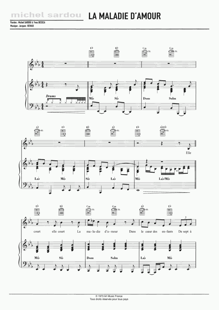 Sardou La Maladie D Amour Sheet Music For Voice Piano Or Guitar