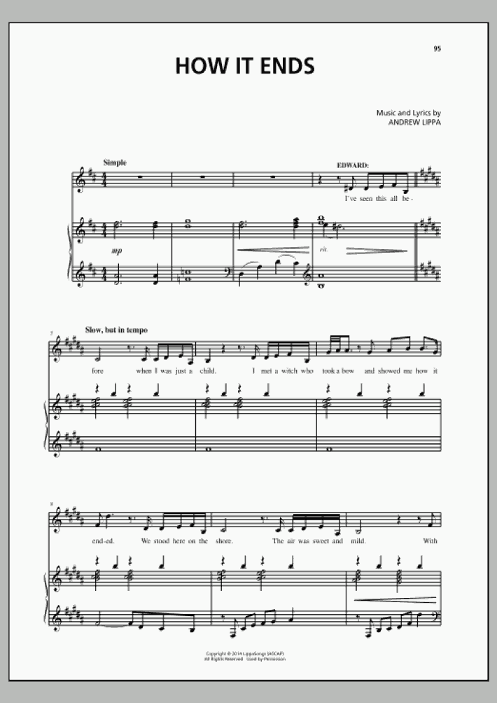 how it ends piano sheet music   onlinepianist  onlinepianist