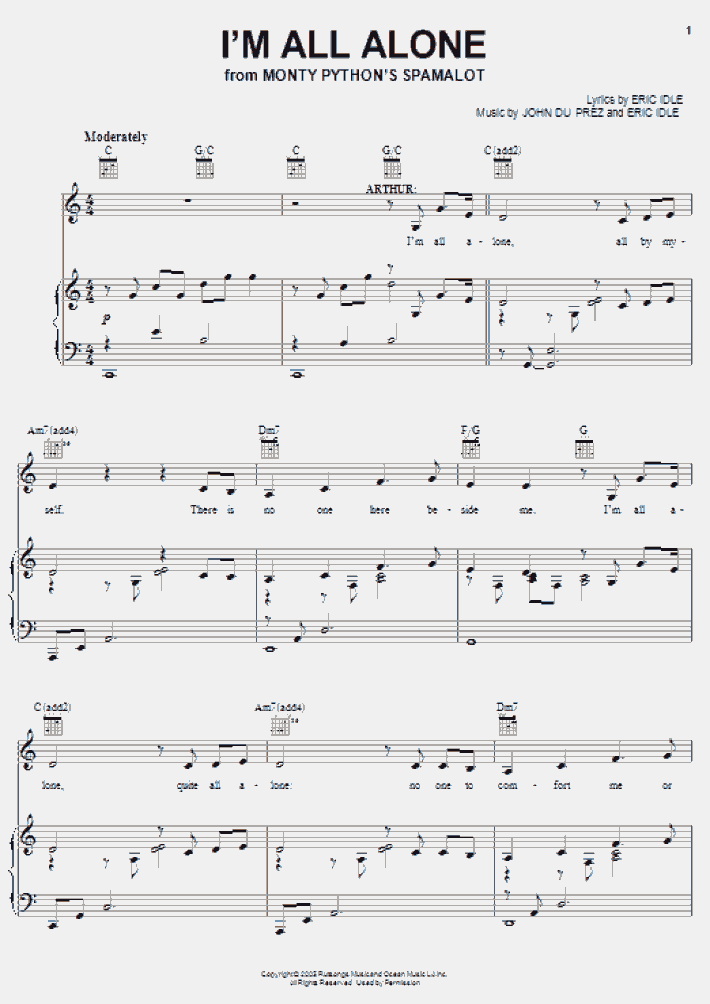 i'm all alone piano sheet music   onlinepianist  onlinepianist