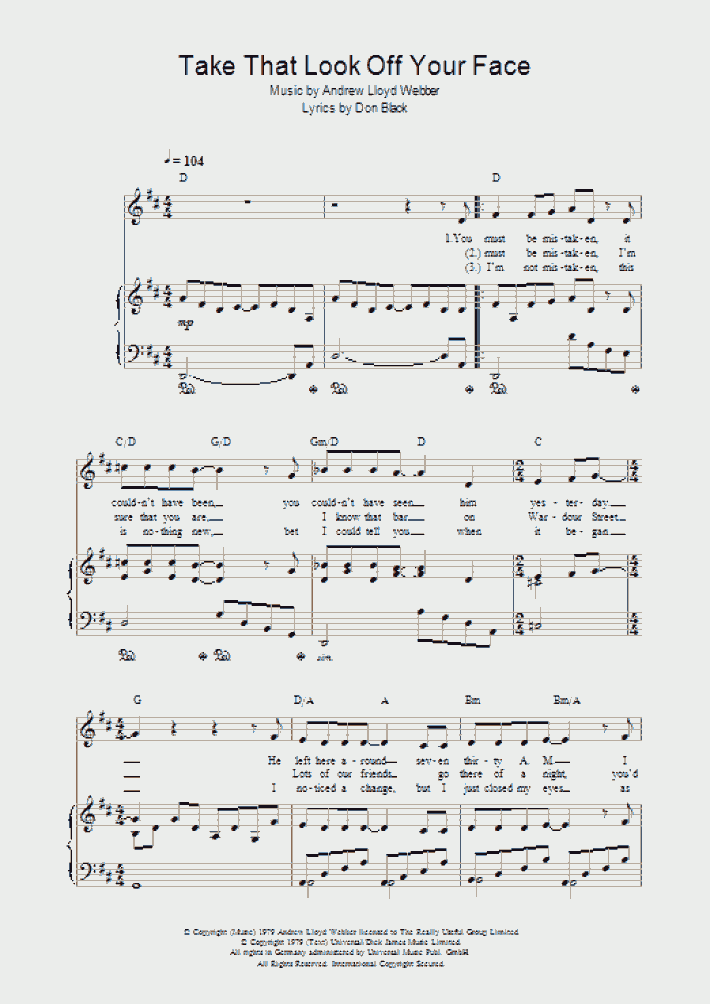 Take It With Me Piano Sheet Music | OnlinePianist