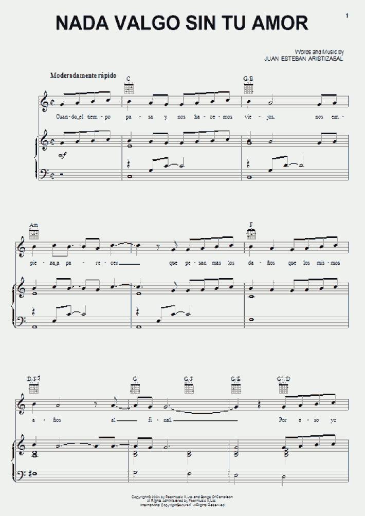 Nada Valgo Sin Tu Amor Piano Sheet Music