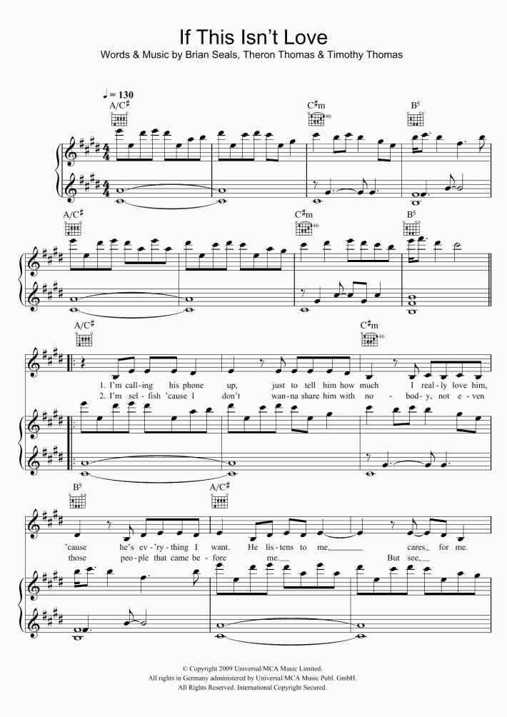 If This Isn't Love Piano Sheet Music   OnlinePianist
