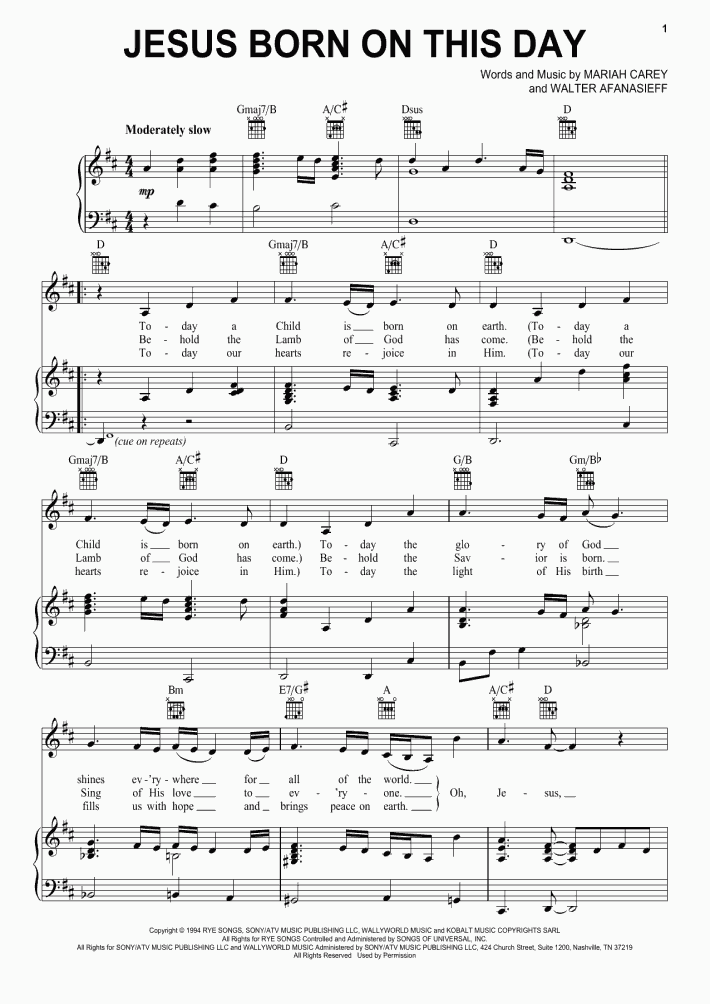 Jesus Born On This Day Piano Sheet Music
