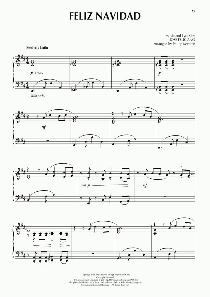 feliz navidad piano sheet music onlinepianist feliz navidad piano sheet music