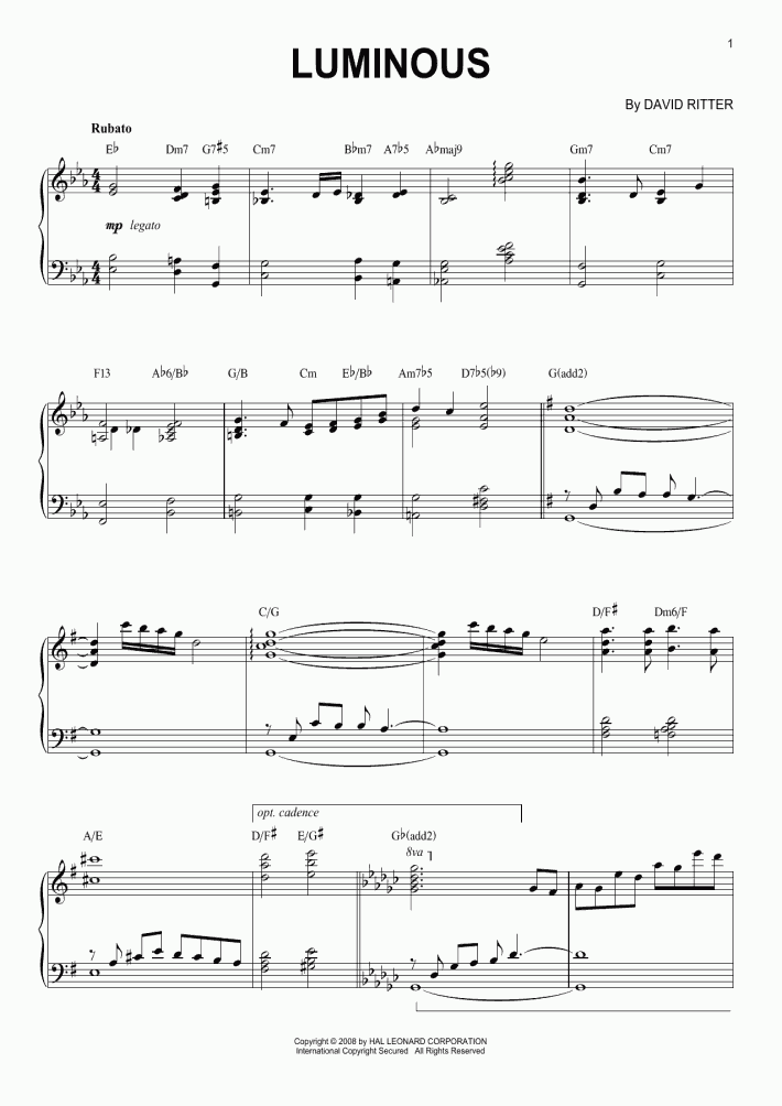 luminous piano sheet music | onlinepianist  onlinepianist
