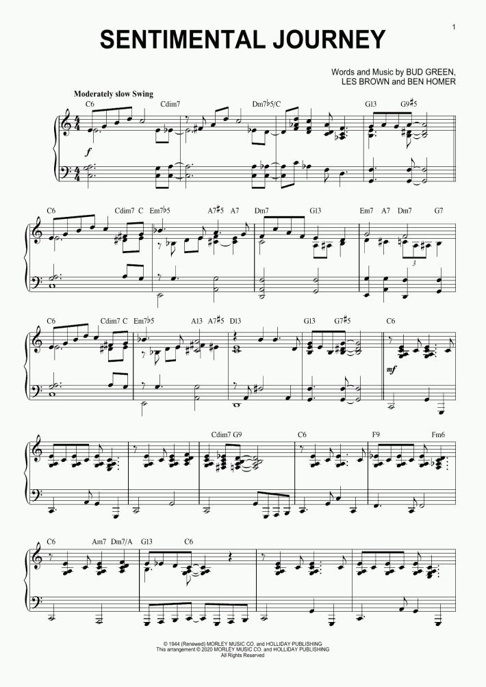 Sentimental Journey [Jazz version] (arr. Brent Edstrom)