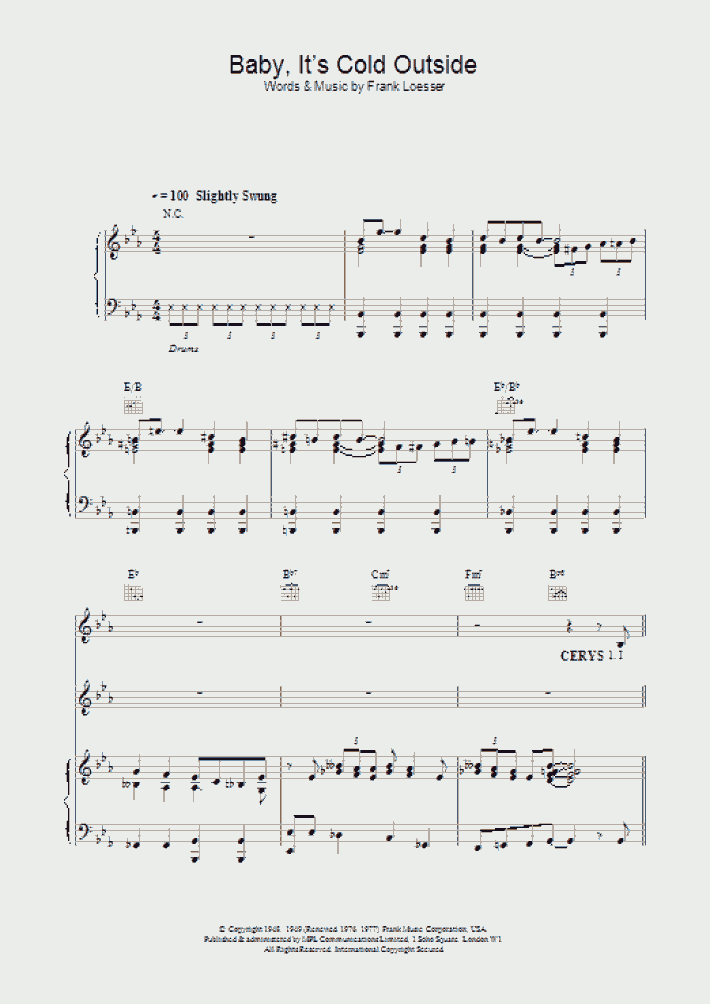 Baby Its Cold Outside Piano Sheet Music