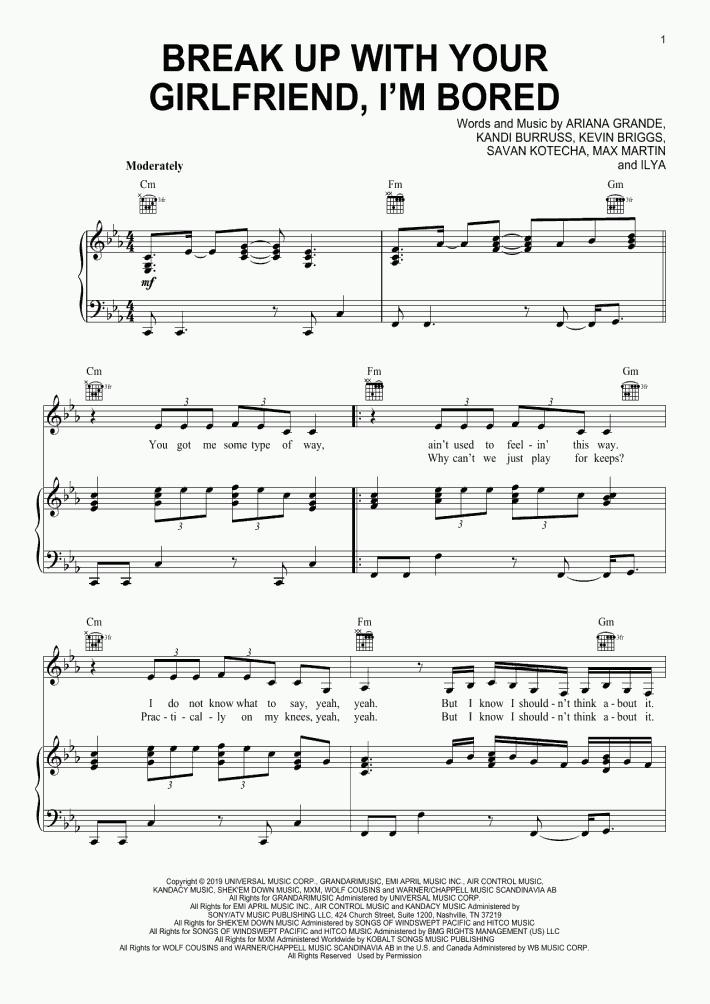 Girlfriend Roblox Id - Break Up With Your Girlfriend Im Bored Piano Sheet Music